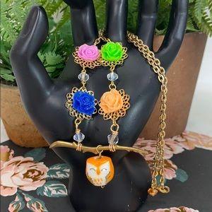 Ceramic owl vibrant flower branch nature necklace